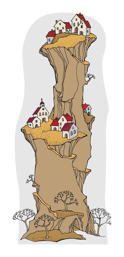 Beeldverhaaldorp, sprookje stock illustratie
