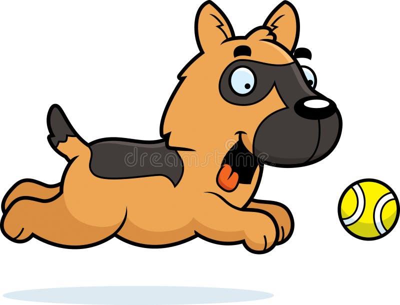 Beeldverhaalduitse herder Chasing Ball vector illustratie
