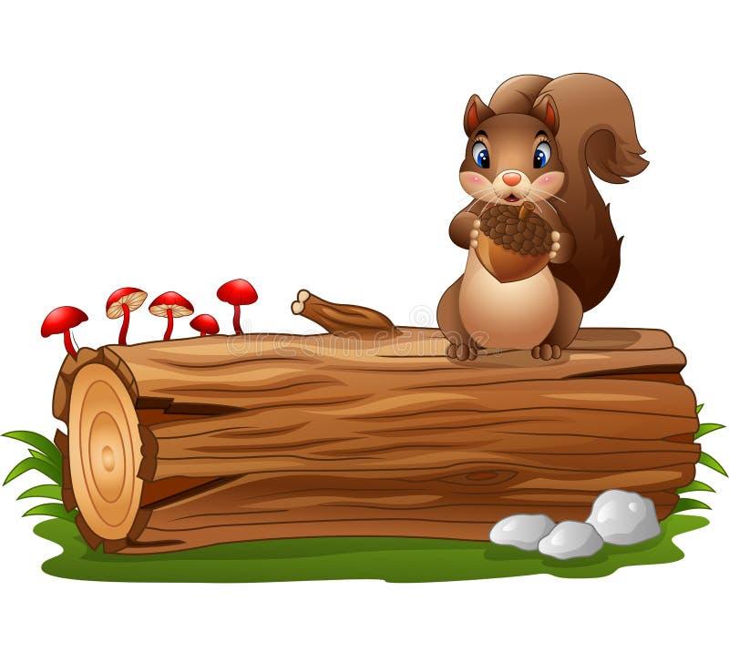 Beeldverhaaleekhoorn die terwijl het houden van eikel bevinden zich stock illustratie