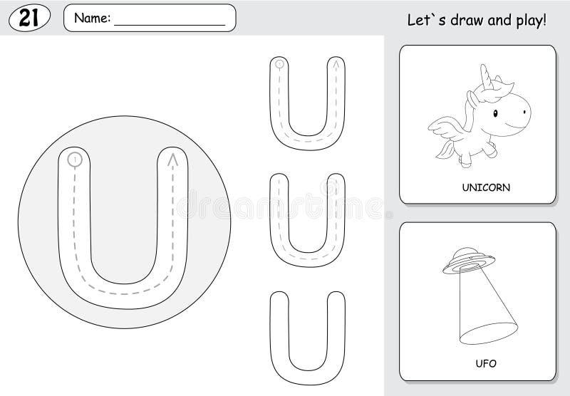 Beeldverhaaleenhoorn en ufo Alfabet Vindend Aantekenvel: Het schrijven A-Z stock illustratie