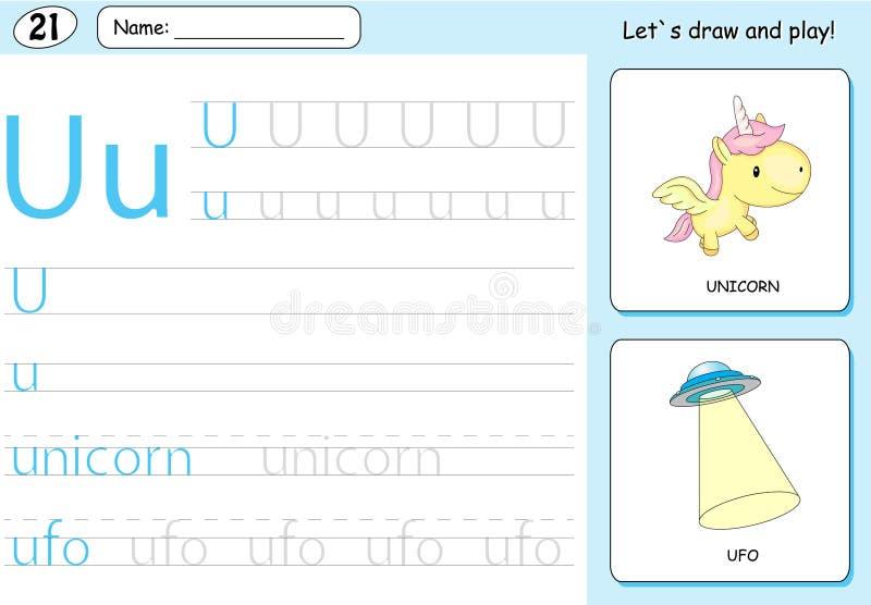 Beeldverhaaleenhoorn en ufo Alfabet Vindend Aantekenvel: Het schrijven A-Z vector illustratie