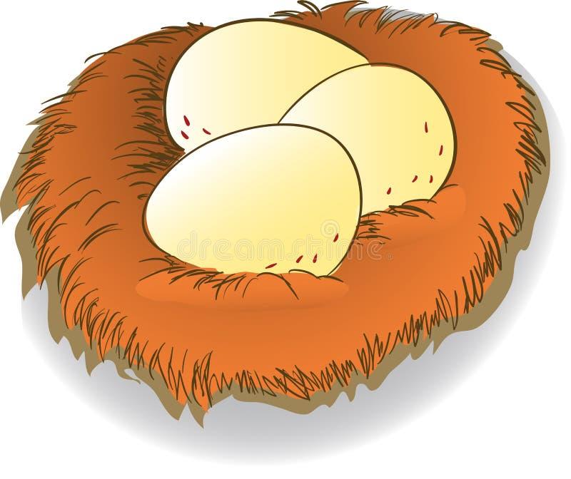 Beeldverhaalei en nest clipart - vectorillustratie vector illustratie