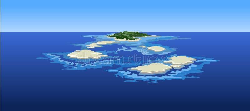 Beeldverhaaleilanden in de oceaan de mening vanaf de bovenkant royalty-vrije illustratie