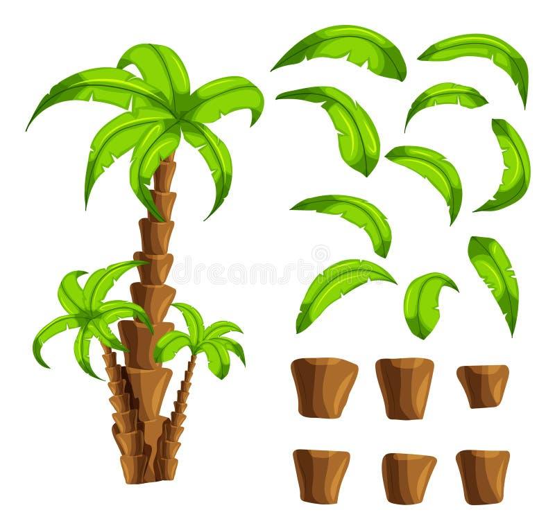 Beeldverhaalelementen de palmen op een witte achtergrond Reeks voorwerpen van een tropische boomboomstam en groene bladeren royalty-vrije illustratie