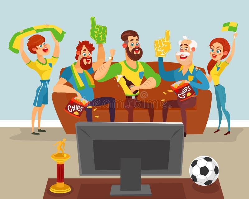 Beeldverhaalfamilie die op een voetbalwedstrijd op TV letten stock illustratie