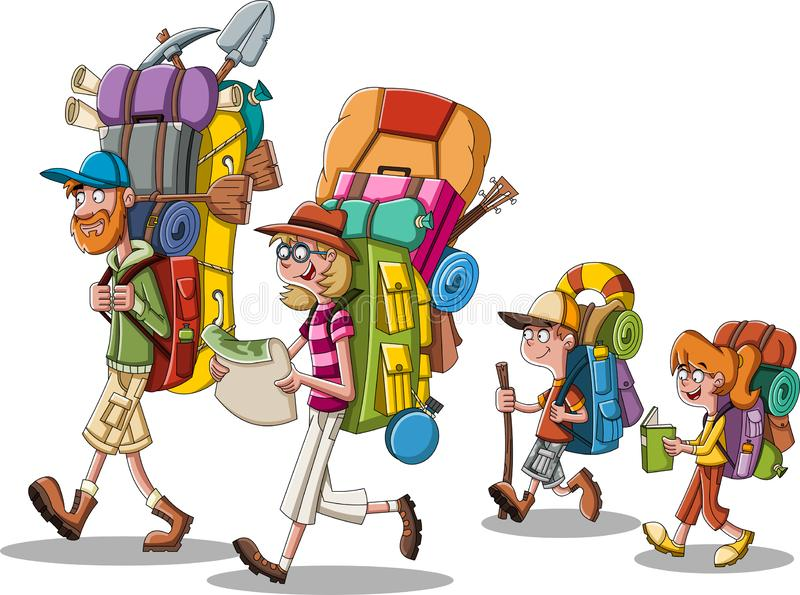 Beeldverhaalfamilie met grote rugzakken Mensen die het kamperen toestellen dragen vector illustratie