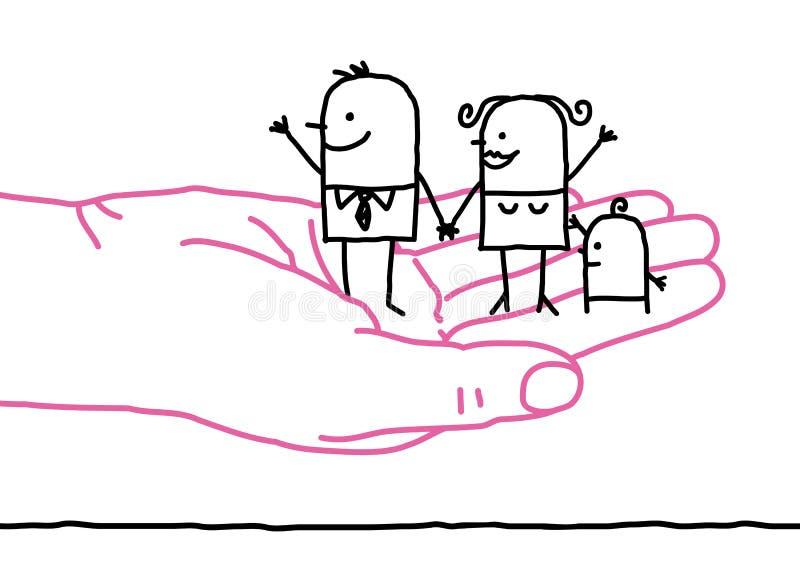 Beeldverhaalfamilie - vriendelijkheid vector illustratie