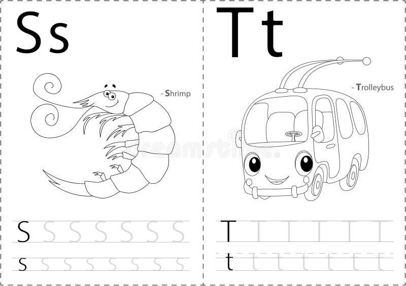 Beeldverhaalgarnalen en trolleybus Alfabet vindend aantekenvel: writi vector illustratie