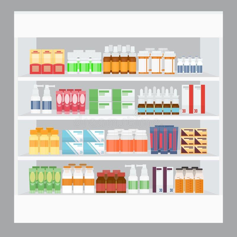 Beeldverhaalgeneeskunde in Apotheek stock illustratie