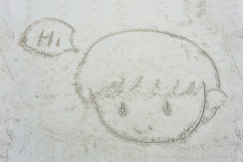 Beeldverhaalgezicht van weinig jongen die op het zand wordt getrokken royalty-vrije stock afbeeldingen