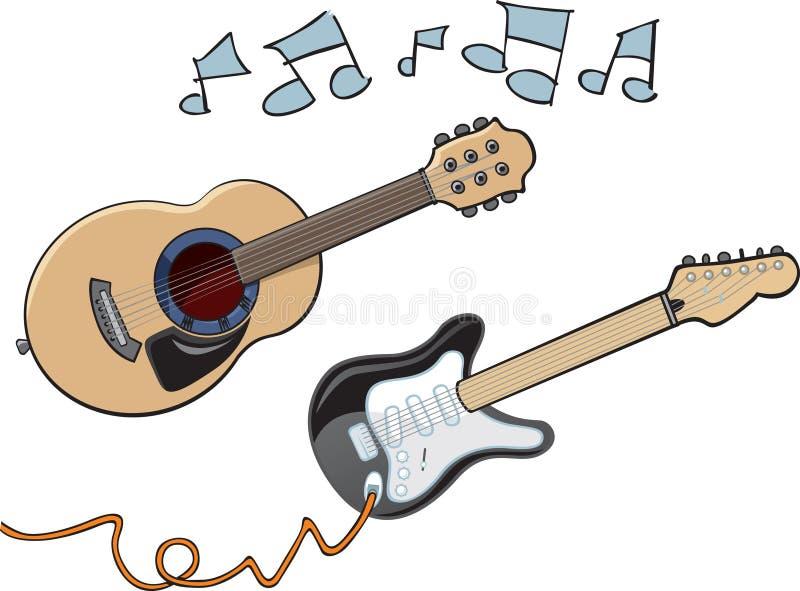 Beeldverhaalgitaren royalty-vrije illustratie