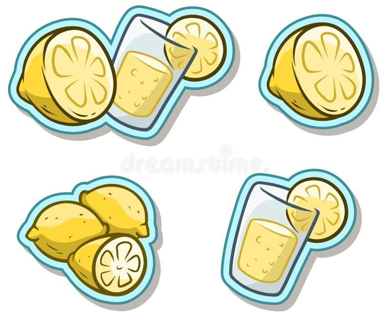 Beeldverhaalglas met limonade en citroenstickerpictogram stock illustratie