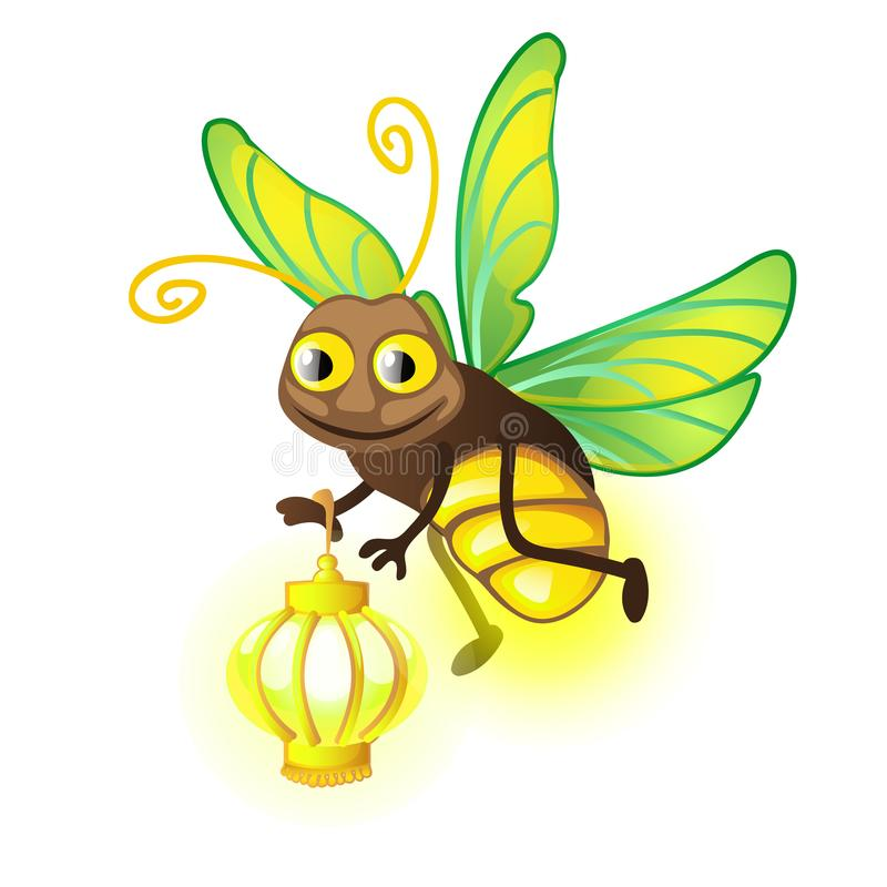 Beeldverhaalglimworm met lantaarn op een witte achtergrond Vector illustratie stock illustratie