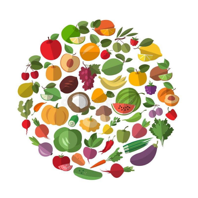 Beeldverhaalgroenten en vruchten vector illustratie