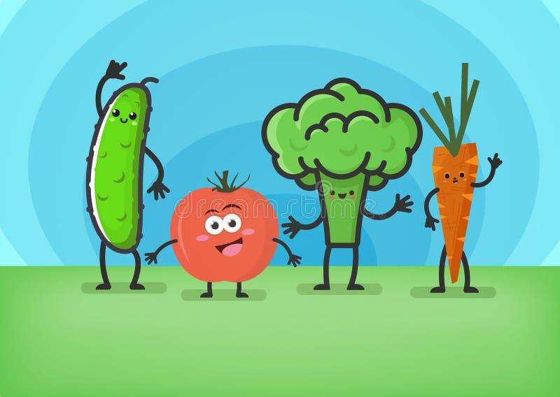 Beeldverhaalgroenten Glimlachende leuke karakters: komkommer, tomaat, broccoli en wortelen fuuny voedselconcept vector illustratie