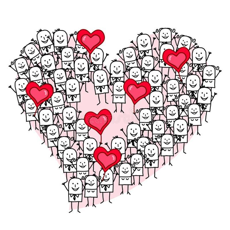 Beeldverhaalgroep die Mensen een Hartvorm maken royalty-vrije illustratie