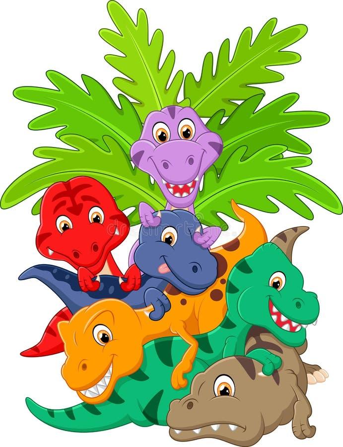 Beeldverhaalgroep dinosaurus stock illustratie