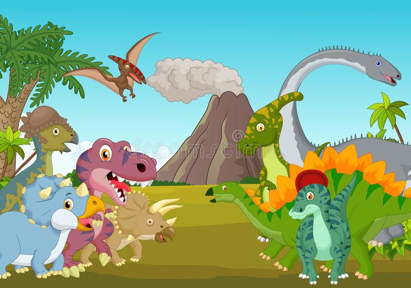Beeldverhaalgroep dinosaurus met berg vector illustratie