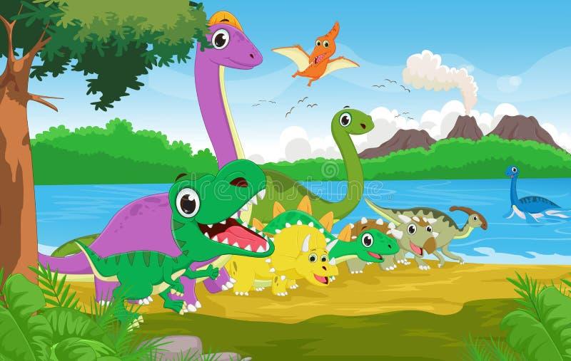 Beeldverhaalgroep dinosaurus met de voorhistorische achtergrond stock illustratie
