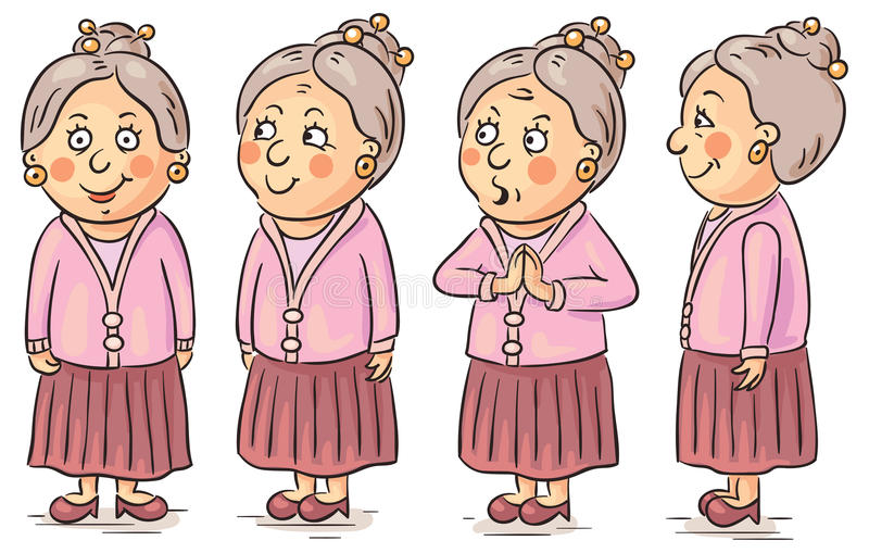 Beeldverhaalgrootmoeder royalty-vrije illustratie