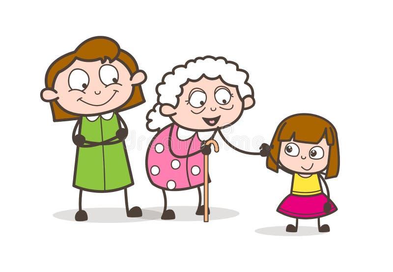 Beeldverhaalgrootmoeder met Dochter en Kleindochter Vectorillustratie royalty-vrije illustratie