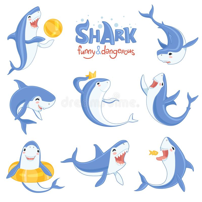 Beeldverhaalhaai het zwemmen Het oceaan grote tanden blauwe vissen binnen glimlachen en boze vectorillustraties van zoogdierenkar stock illustratie