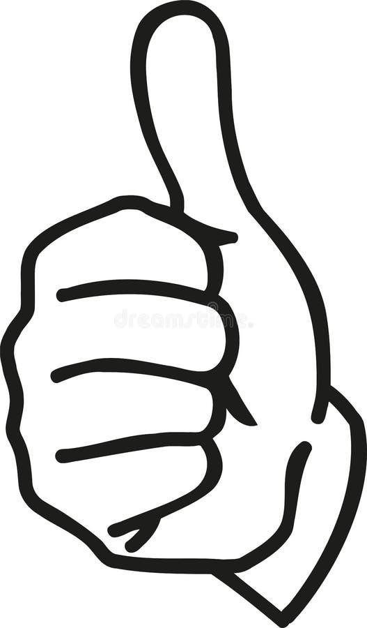Beeldverhaalhand met omhoog duimen royalty-vrije illustratie