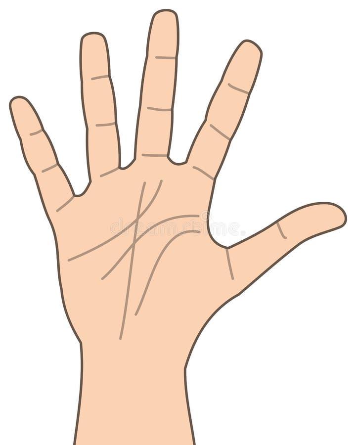 Beeldverhaalhand Nummer Vijf Pictogram stock illustratie