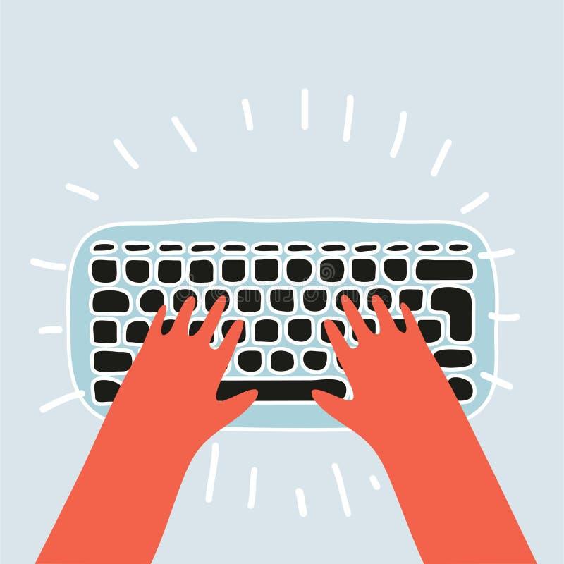 Beeldverhaalhanden op witte toetsenbord en muis van computer stock illustratie