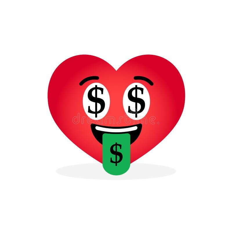 Beeldverhaalhart Emoticon, op witte achtergrond wordt geïsoleerd die vector illustratie