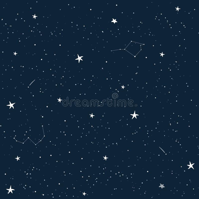 Beeldverhaalhemel met sterren Naadloos vectorpatroon Kindbehang royalty-vrije illustratie