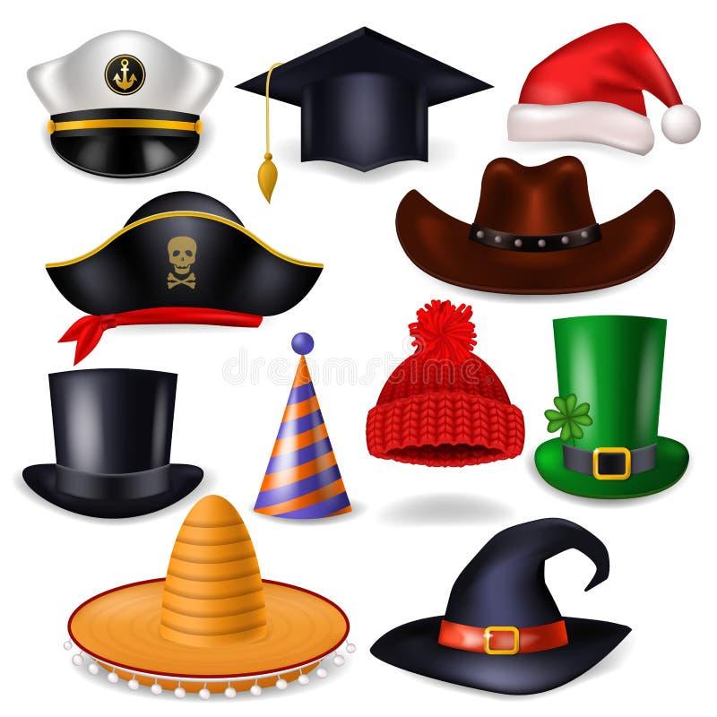 Beeldverhaalhoed vector grappig GLB voor vierende verjaardagspartij of Chrisrmas met de hoed of de piraat van headwear of hoofdde vector illustratie