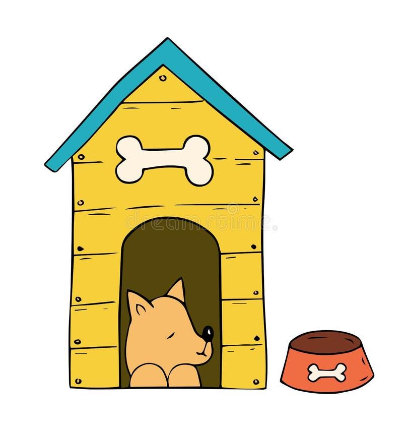 Beeldverhaalhond in de cabine op witte achtergrond stock illustratie