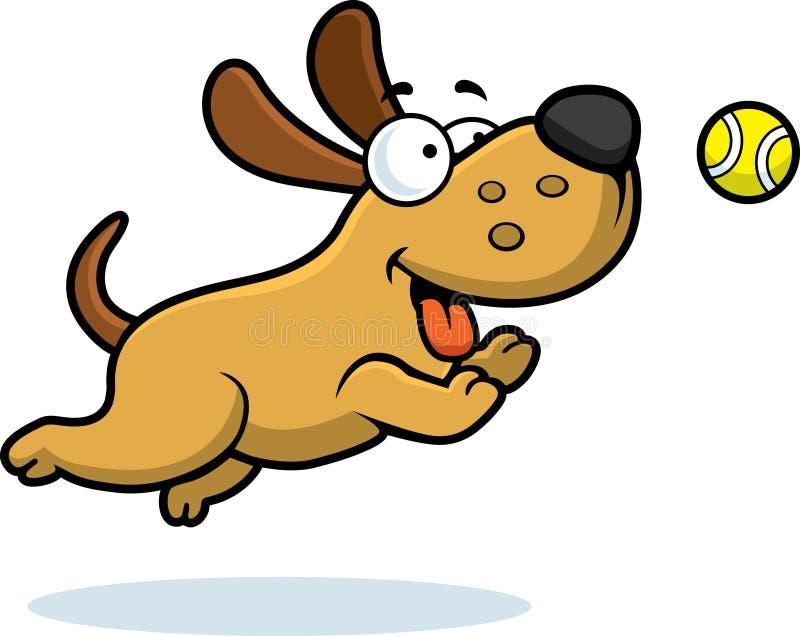 Beeldverhaalhond die Bal achtervolgen stock illustratie