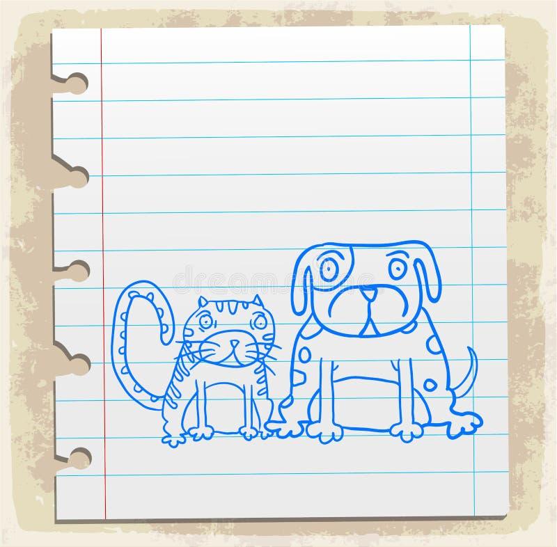 Beeldverhaalhond een kat op document nota, vectorillustratie vector illustratie