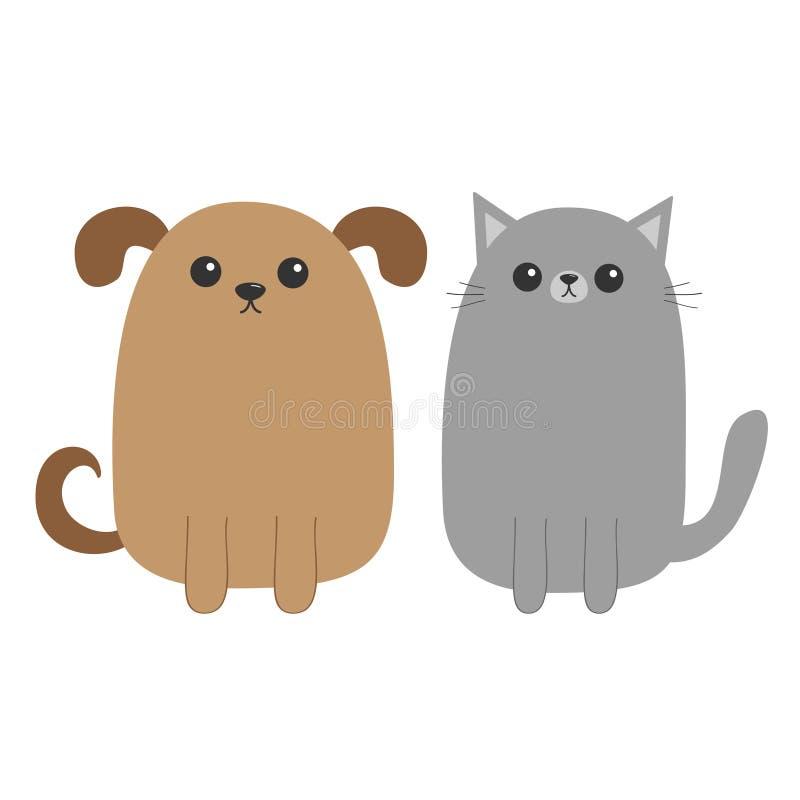 Beeldverhaalhond en kat Puppykatje De staart van de snorbakkebaard Grappig glimlachend karakter - reeks Kawaiihuisdier Vlak Ontwe stock illustratie