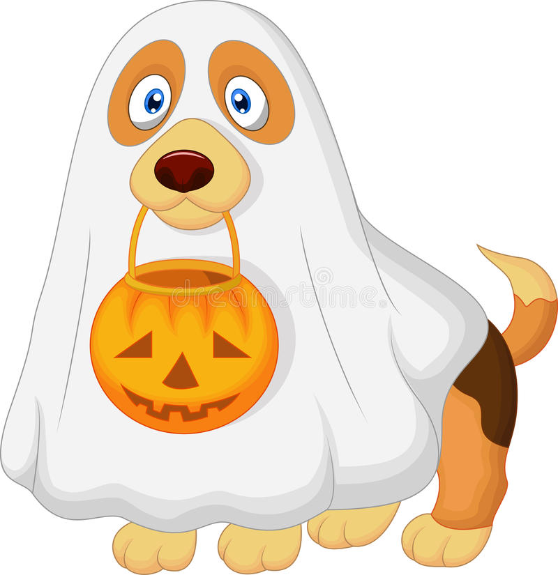 Beeldverhaalhond omhoog gekleed als griezelig spook stock illustratie