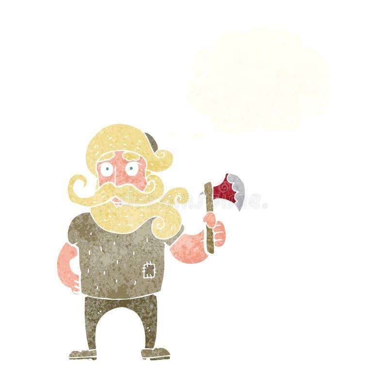 beeldverhaalhouthakker met bijl met gedachte bel stock illustratie