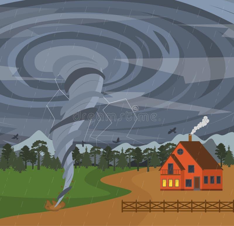 Beeldverhaalhuis en de Affiche van de Tornadokaart Vector stock illustratie