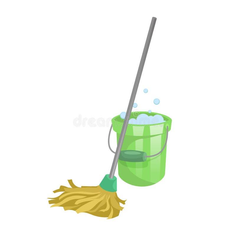 Beeldverhaalhuis en pictogram van de flat het schoonmakende dienst Oude droge zwabber met handvat en groene plastic emmer met bel stock illustratie