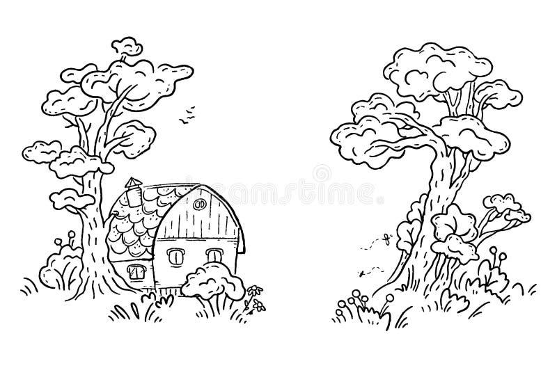 Beeldverhaalhuis in het zwart-witte hout, vector clipart, stock illustratie