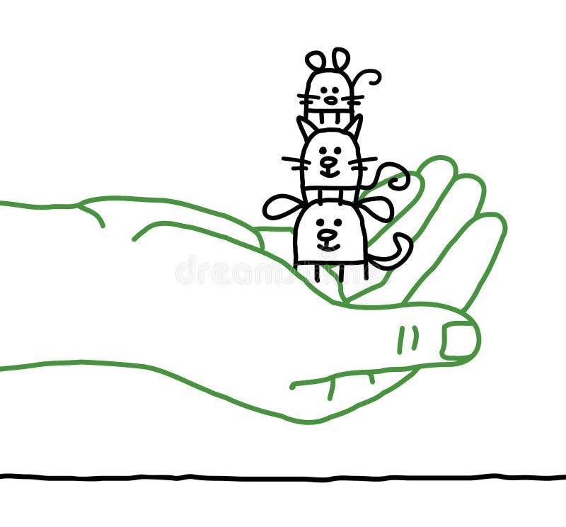 Beeldverhaalhuisdieren - bescherming vector illustratie