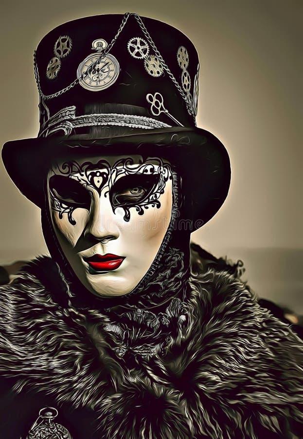 Beeldverhaalillustratie die van geheimzinnige vrouw wit masker en zwarte hoed dragen tijdens Venetië Carnaval in Italië stock illustratie