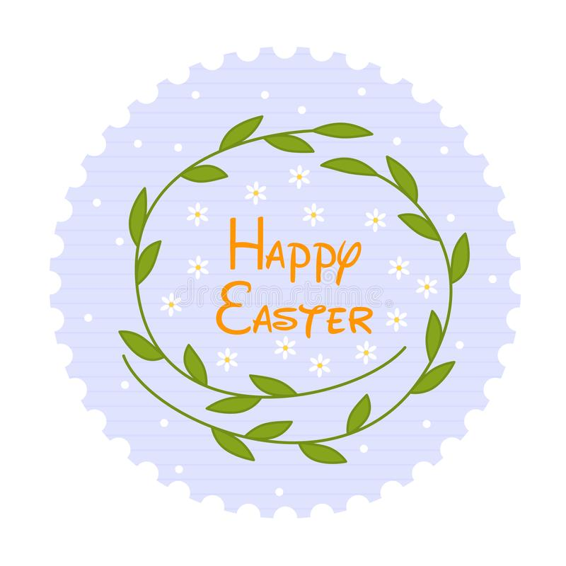 Beeldverhaalillustratie met het gelukkige kader van Pasen en van de bloem Genomen in Genua, Italië Vectorvakantiekader Mooie gelu stock afbeelding