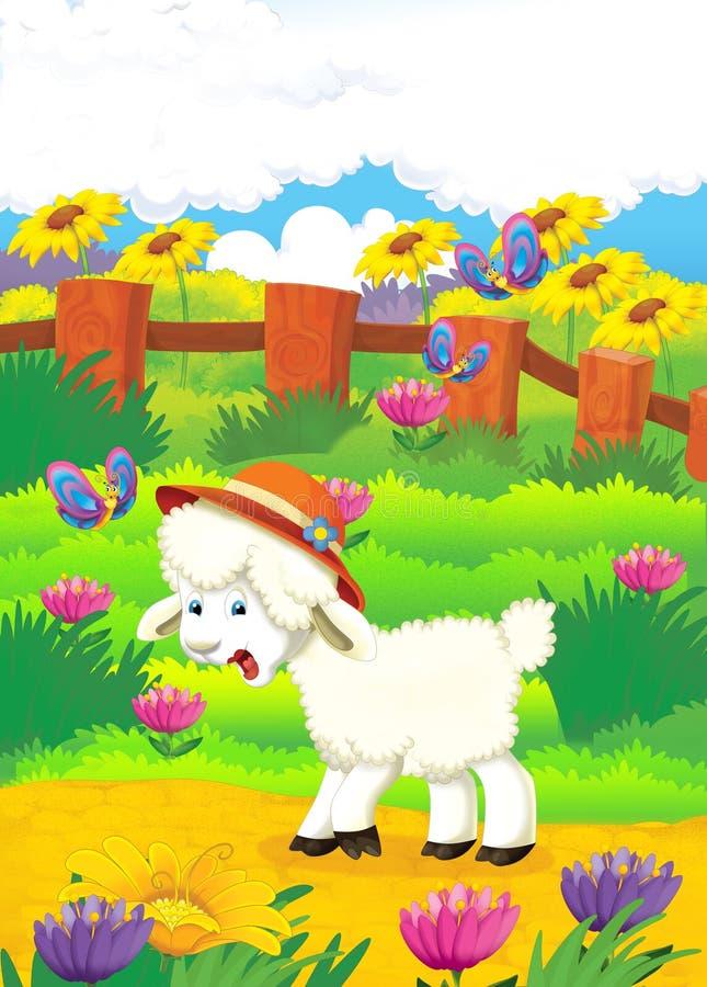 Beeldverhaalillustratie met schapen op het landbouwbedrijf - illu stock illustratie