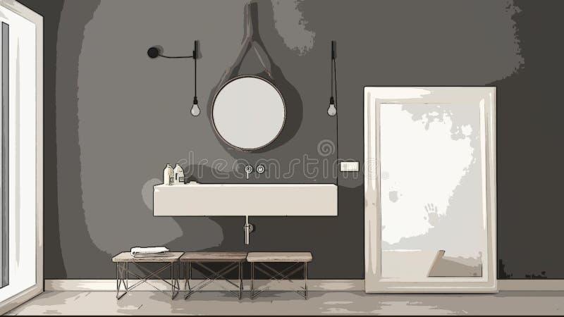 Beeldverhaalillustratie van comfortabele moderne badkamers, binnenlands ontwerp Kleurrijke achtergrond, flatconcept met digitaal  stock illustratie