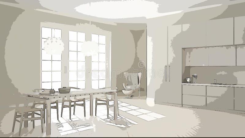 Beeldverhaalillustratie van comfortabele moderne keuken, binnenlands ontwerp Kleurrijke achtergrond, flatconcept met digitaal meu vector illustratie