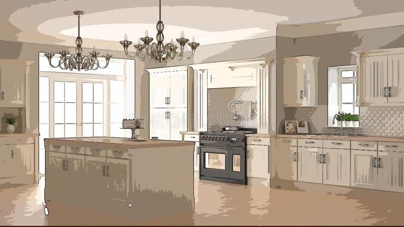 Beeldverhaalillustratie van comfortabele moderne keuken, binnenlands ontwerp Kleurrijke achtergrond, flatconcept met digitaal meu stock afbeelding