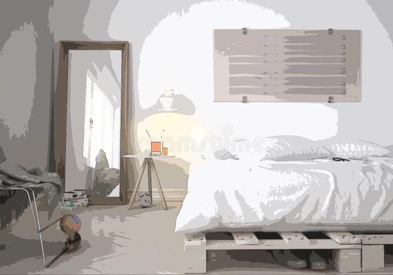 Beeldverhaalillustratie van comfortabele moderne slaapkamer, binnenlands ontwerp Kleurrijke achtergrond, flatconcept met digitaal vector illustratie