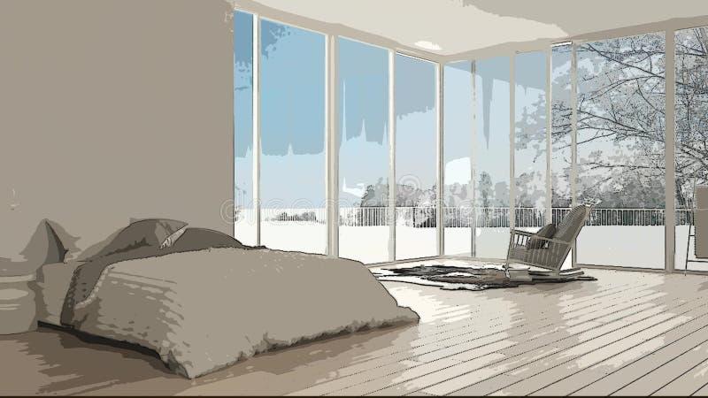 Beeldverhaalillustratie van comfortabele moderne slaapkamer, binnenlands ontwerp Kleurrijke achtergrond, flatconcept met digitaal stock foto's